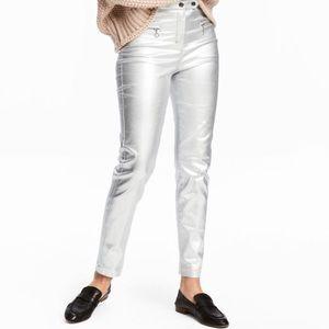 NWT H&M Silver Stretch Pants Size 12